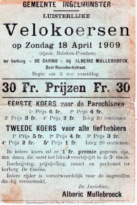 Affiche voor wielerwedstrijden voor parochianen en alle liefhebbers , Ingelmunster, 1909