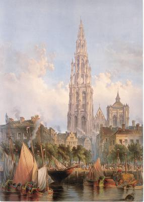 Beeldzijde kerst- en nieuwjaarskaart, kathedraal Antwerpen