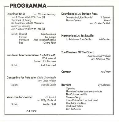 Ceciliaconcerten van de koninklijke stadsharmonie door de jaren heen (Deel 2)