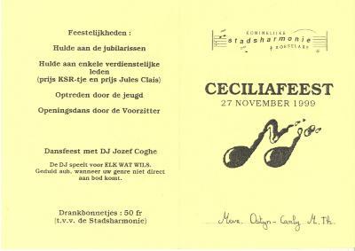 Koninklijke stadsharmonie Roeselare, Ceciliafeest 1999