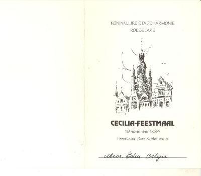 Koninklijke stadsharmonie Roeselare Cecilia, feestmaal 1994