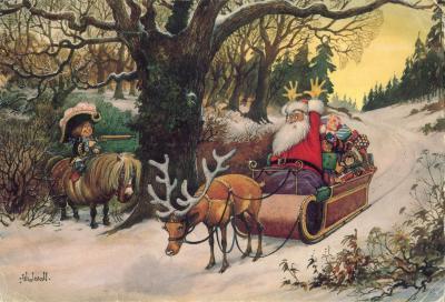 Beeldzijde dubbele kerst-en nieuwjaarskaart, hold-up op kerstman