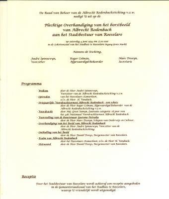 Uitnodiging plechtige overhandiging borstbeeld Albrecht Rodenbach