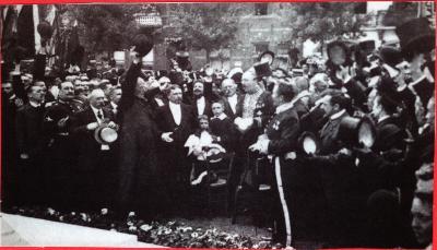 Inhuldiging standbeeld A. Rodenbach, Roeselare, augustus 1909