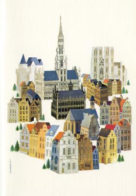 Beeldzijde dubbele kerst- en nieuwjaarskaart, zicht op Brussel