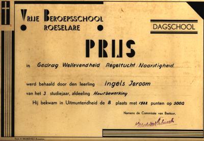 Getuigschrift dagschool Vrije Beroepsschool, Roeselare