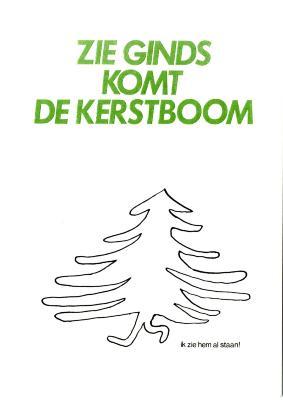 Beeldzijde kerst- en nieuwjaarskaart, wandelende kerstboom