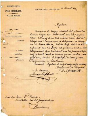 Briefwisseling van Stadsbestuur aan Brandweer Roeselare 1897-1914