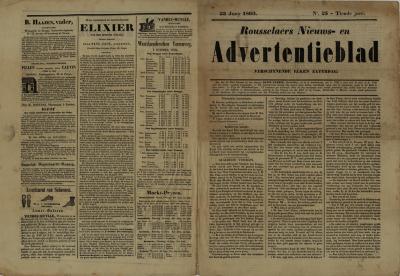 Roeselaars Nieuws- en advertentieblad, Roeselare, 23 juni 1860
