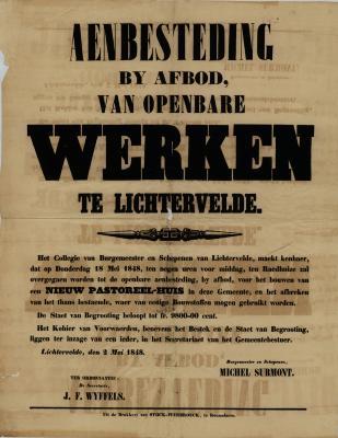 Affiche aanbesteding bij afbod van openbare werken, Lichtervelde, 2 mei 1848