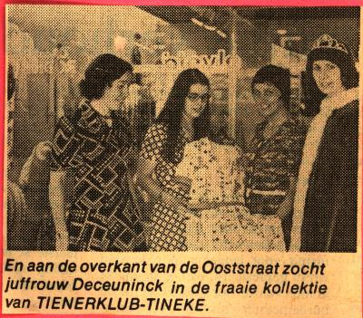 Batjesprinsessen 1974 in kledingzaak Tienerklub - Tineke