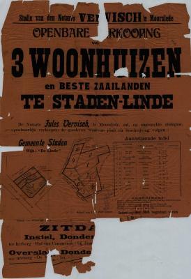 Affiche openbare verkoop 3 woonhuizen, Staden, oktober 1925