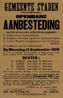 Affiche openbare aanbesteding voor werken, Staden, 16 augustus 1930