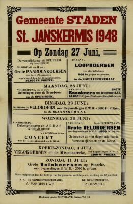 Affiche St.-Janskermis, Staden, 27 juni 1948