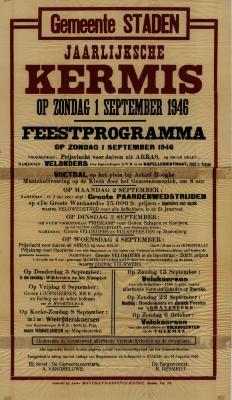 Affiche Jaarlijkse Kermis, Staden, 1 september 1946