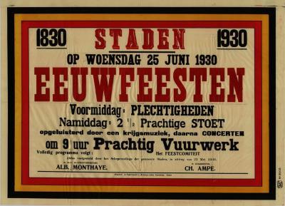 Affiche Eeuwfeesten, Staden, 25 juni 1930