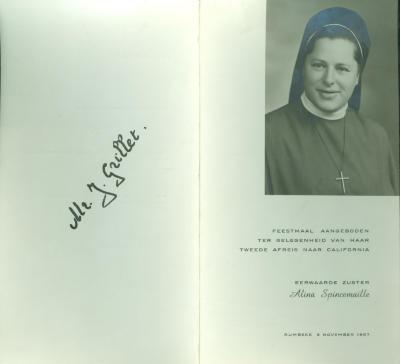 Spijskaart Feestmaal Alina Spincemaille, Rumbeke, 1967