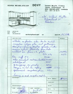Aankoopovereenkomst voor een keuken bij Dovy, Roeselare,1982