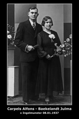 Huwelijk Alfons Carpels - Julma Baekeland, Ingelmunster, 1937