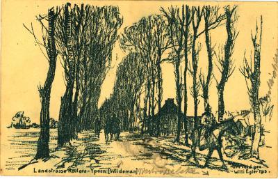 Pentekening Landstraat Roeselare - Ieper