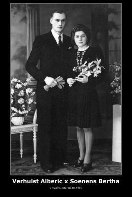 Huwelijk Alberic Verhulst - Bertha Soenens, Ingelmunster, 1945