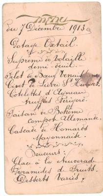 Franstalige menukaart 1913