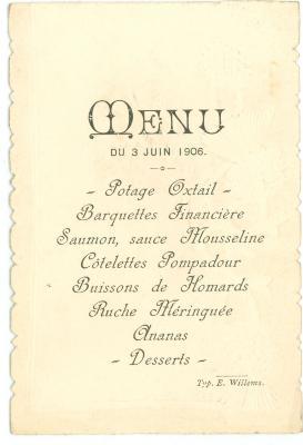 Franstalige menukaart 1906