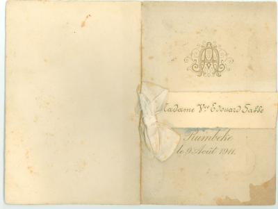 Franstalige menukaart  1911