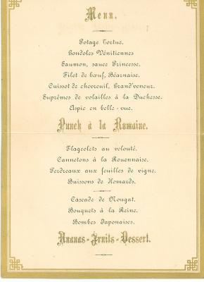 Franstalige menukaart 1892