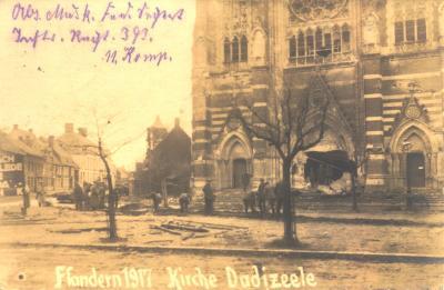 Beschadigde kerk, Dadizele,  1917