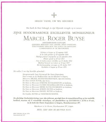 Overlijdensbrief Monseigneur Buyse, 1974