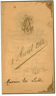 Franstalige menukaart 1913 (2)