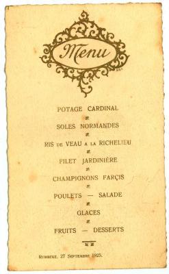 Franstalige menukaart 1925