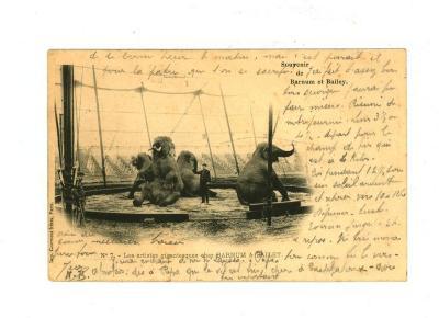 Postkaart met de gigantische artiesten van het Barnum en Bailey circus