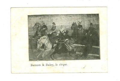 Postkaart van het Barnum en Bailey circus met paardenshow (1)