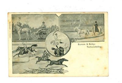 Postkaart van het Barnum en Bailey circus met paardenshows