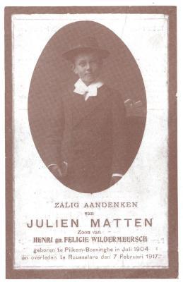 Bidprentje Julien Matten, overleden in Roeselare op 7 februari 1917