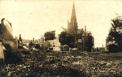 Centrum Dadizele verwoest