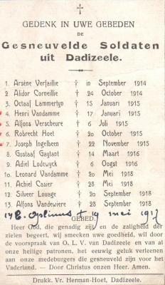 Bidprentje met lijst van gesneuvelde soldaten, Dadizele