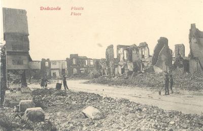 Centrum van Dadizele in puin