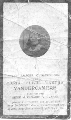 Bidprentje Maria-Felicia Vandercamere, Dadizele 10 augustus 1917