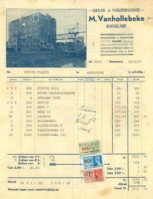Factuur van M. Vanhollebeke en NV Voeders Hanekop, Roeselare, 1937 en 1954