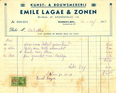 Factuur van Emile Lagae & Zonen, Roeselare, 1938