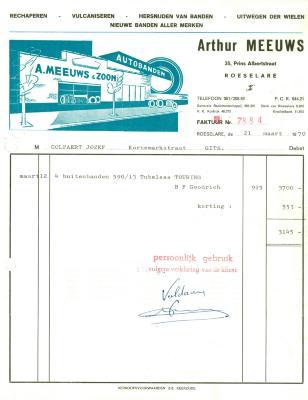 Factuur van Arthur Meeuws, Roeselare, 1970