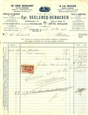 Factuur van Cyr. Declercq - Debacker, Roeselare, 1932
