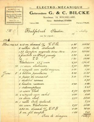 Factuur Gebroeders G. & C. Bilcke, Roeselare, 1924