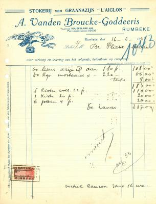 Factuur van A. Vanden Broucke-Goddeeris,  Rumbeke, 1933
