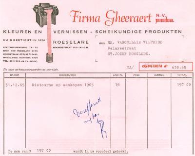 Creditnota van de NV Gheeraert, Roeselare, 1965