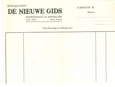 Factuurhoofding van Boekhandel De Nieuwe Gids, Roeselare