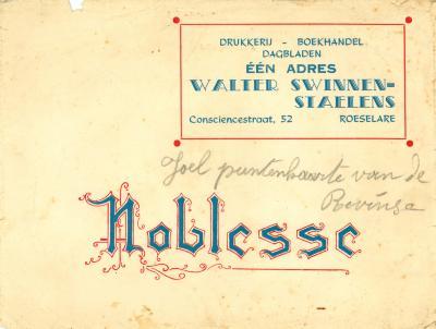 Briefomslag Walter Swinnen- Staelens, Roeselare